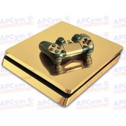 Vinilo PS4 Slim oro efecto espejo