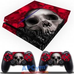 Vinilo Playstation 4 calaveras flores rojas