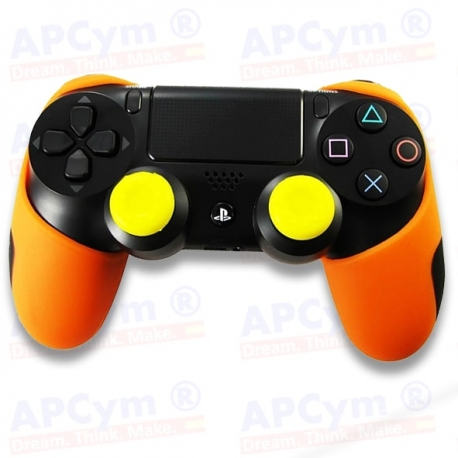 Funda Silicona PS4 naranja Lisa