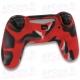 Funda Silicona PS4 Camuflaje roja