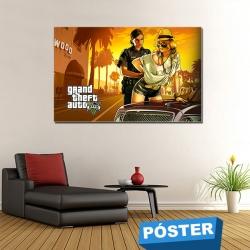 Poster GTA V con Protector en Brillo