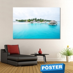 Poster Piscina Tropical con Protector en Brillo