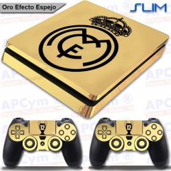 Vinilo PS4 Slim Decorativo Oro Efecto Espejo Undecima