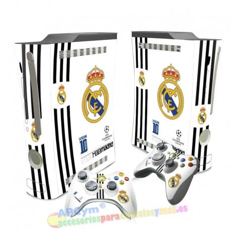 Vinilo Xbox 360 Fat Hala Madrid Blanca