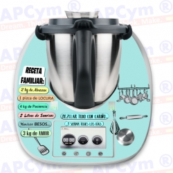 Vinilo Thermomix TM5 Receta Familiar Celeste