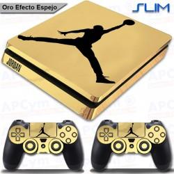 Vinilo PS4 Slim jordan Oro Efecto Espejo